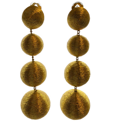 Rebecca de Ravenel Gold Plated Silk Thread Clip On Earrings