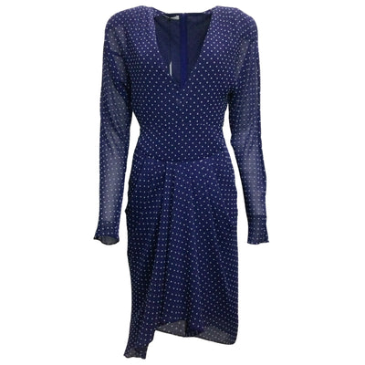 Philosophy di Lorenzo Serafini Blue Polka Dotted Cocktail Dress