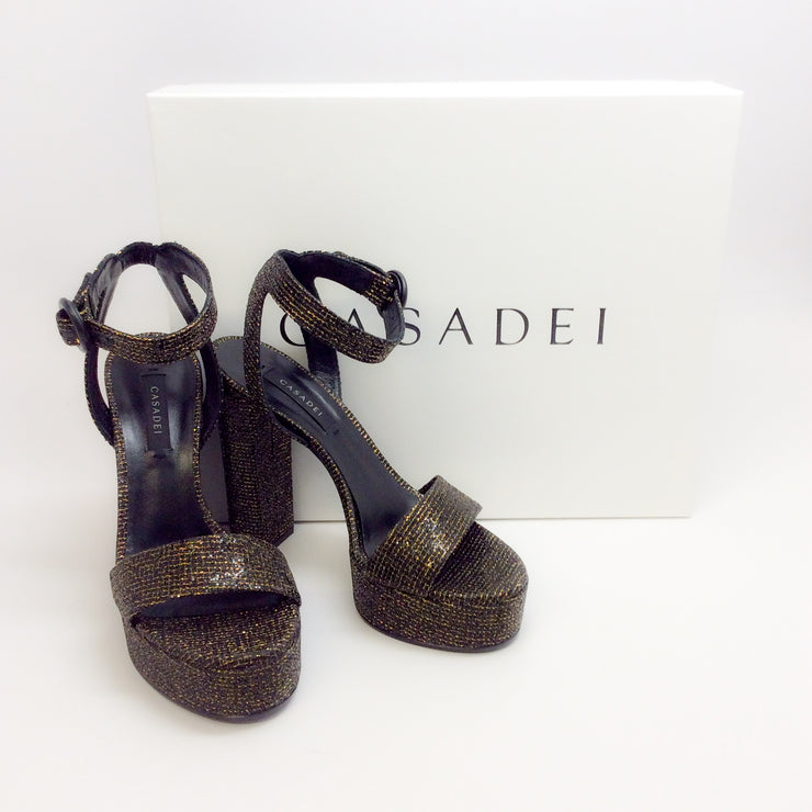 Casadei Black / Gold Zeus Platform Sandals