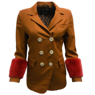 Gucci Terracotta Blazer With Red Mink Fur Sleeves