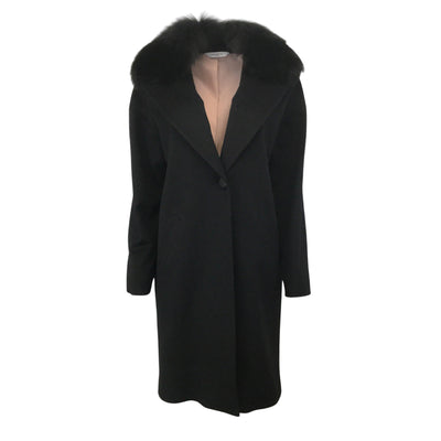 Fleurette Black One Button Shawl Fox Collar Coat