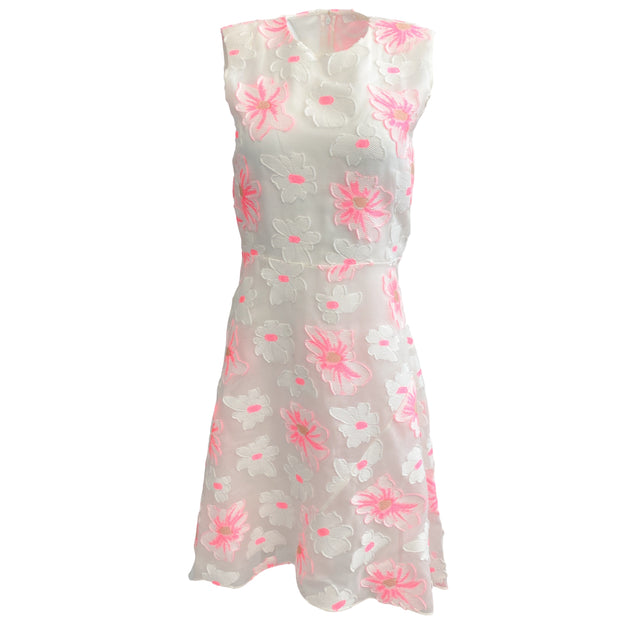 Chloé White / Pink Sleeveless Applique Flowers Cocktail Dress