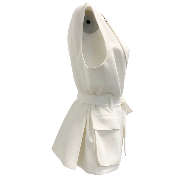 Pauw Amsterdam White Cotton Tie Belt Vest
