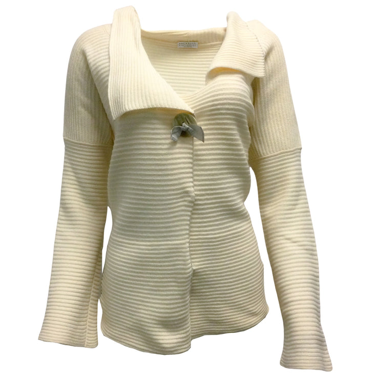 Brunello Cucinelli Ivory Ribbed Knit Sweater