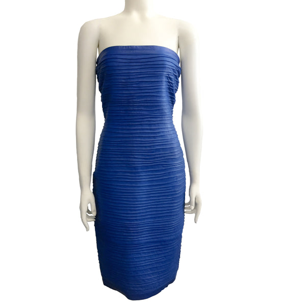 Vakko Vintage Cobalt Blue Leather Sheath Dress