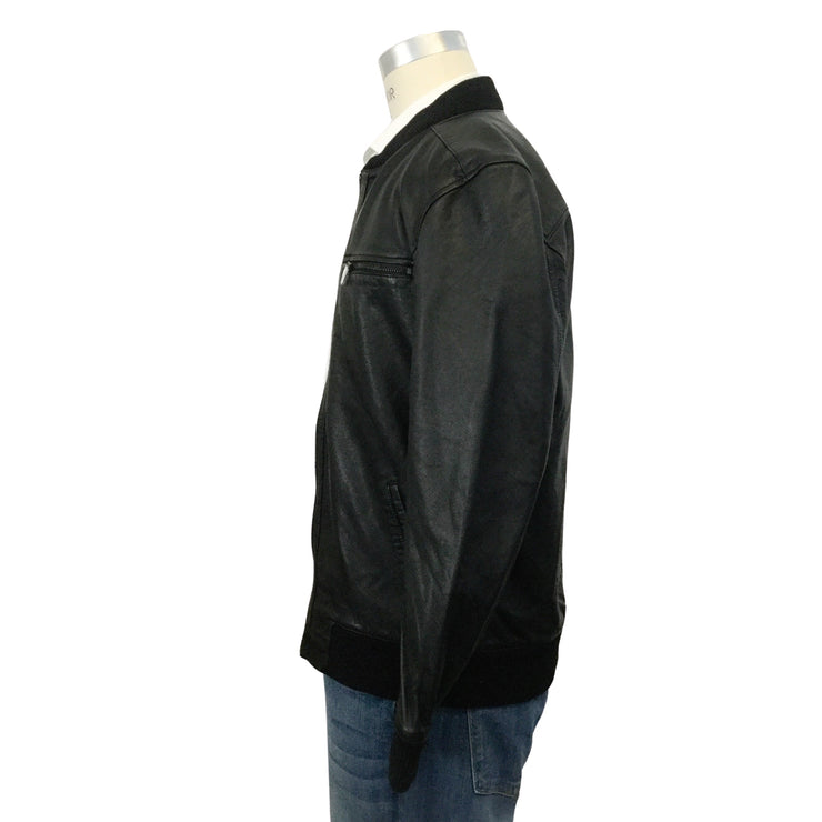 Paige Men's Black Matte Onyx Leather Bardot Bomber Jacket