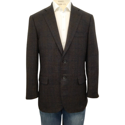 Isaia Men's Brown Windowpane Cashmere Blazer