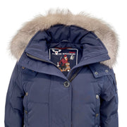 Moose Knuckles Blue Debaies Genuine Fox Fur Trim Puffer Coat