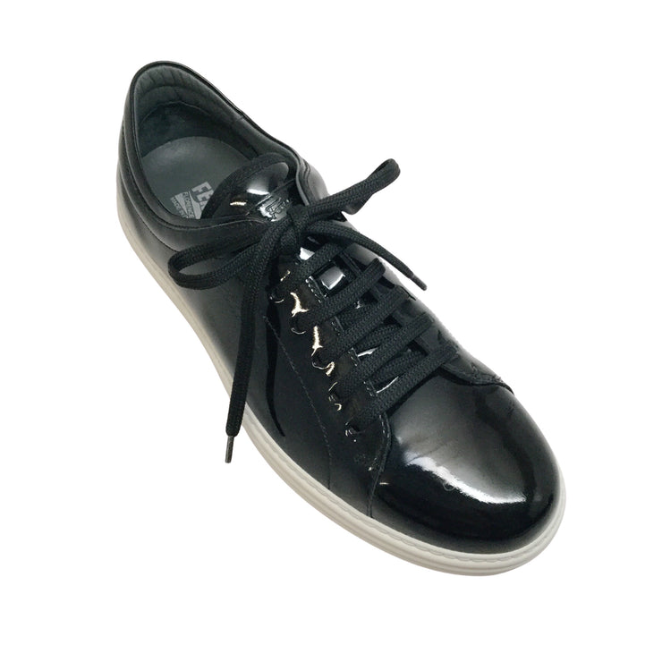 Ferragamo's Black Patent Leather Men's Sneaker