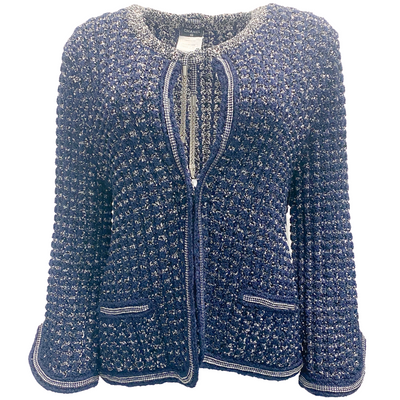Chanel Navy and White Knit Open Jacket