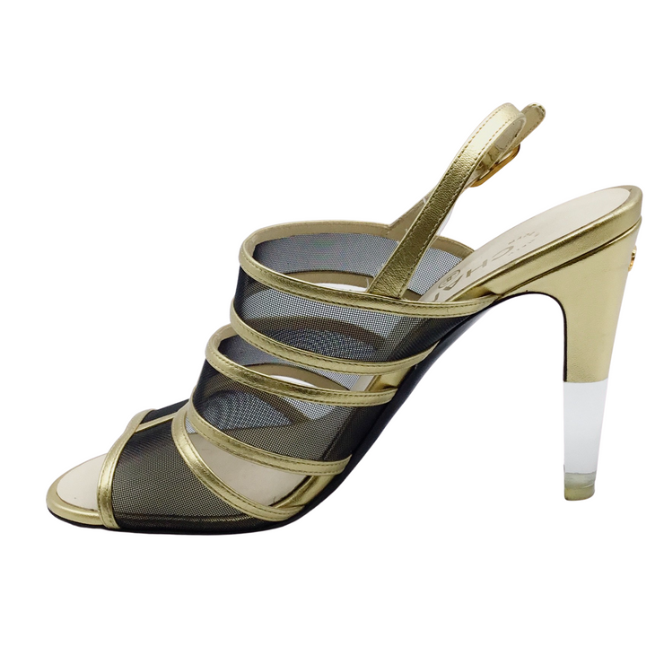Chanel Gold and Black Mesh Lucite Heel Sandals