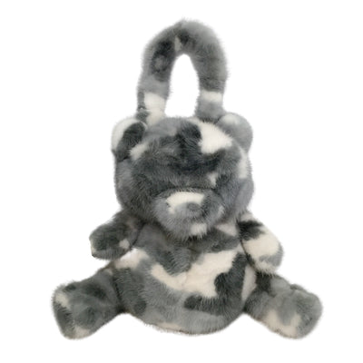 Fleurette Teddy Bear Grey Camo Mink Fur Satchel