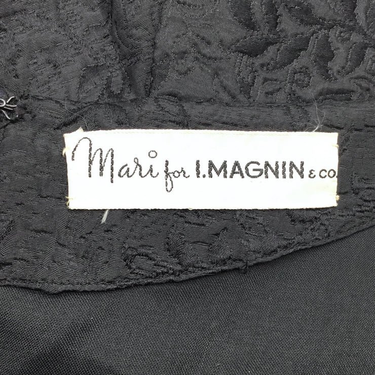 I. Magnin Black Vintage Damask Dress