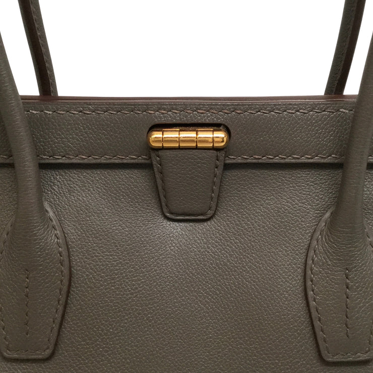 Hermès Convoyeur 2015 Evercolor 26 Etain Leather Shoulder Bag