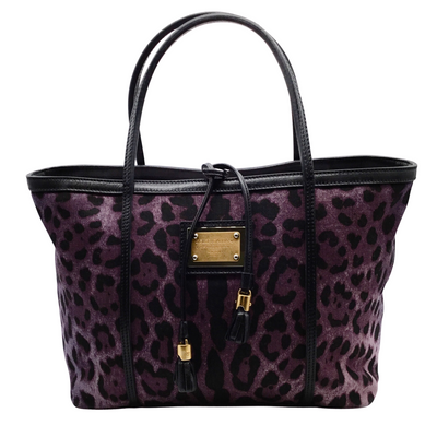 Dolce&Gabbana Animal Print Purple Denim Tote