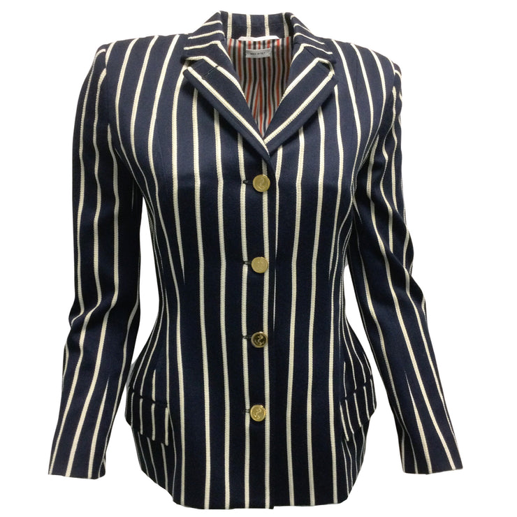 Thom Browne Navy Blue Striped Blazer