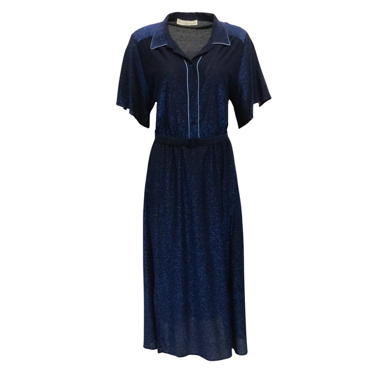 Golden Goose Deluxe Brand Blue Metallic Belted Short Casual Dress