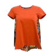 sacai Orange Floral Print Back Tee Shirtsacai Orange Floral Print Back Tee Shirt