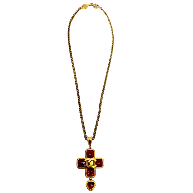 Chanel Red and Gold 1996 Long Cross Necklace