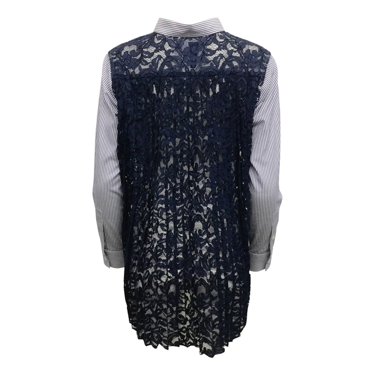 sacai Blue / White Pleated Lace Back Blouse