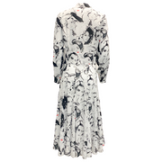 Michael Kors Collection Black and White Portrait Print Midi Dress