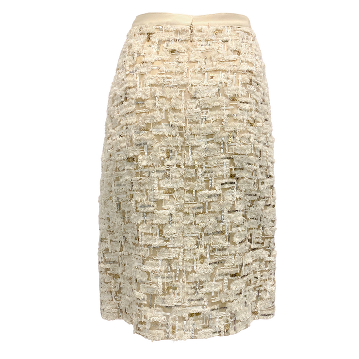 Oscar de la Renta Cream Sequin Textured Skirt