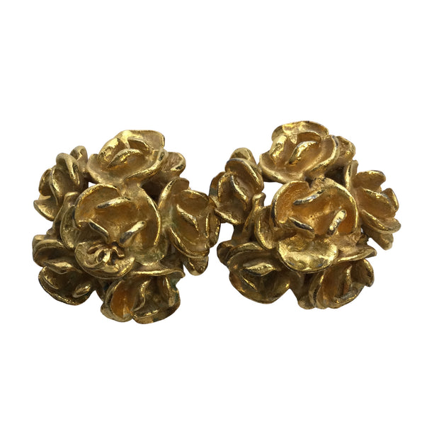 Chanel Vintage 1999 Camellia Cluster Floral Earrings