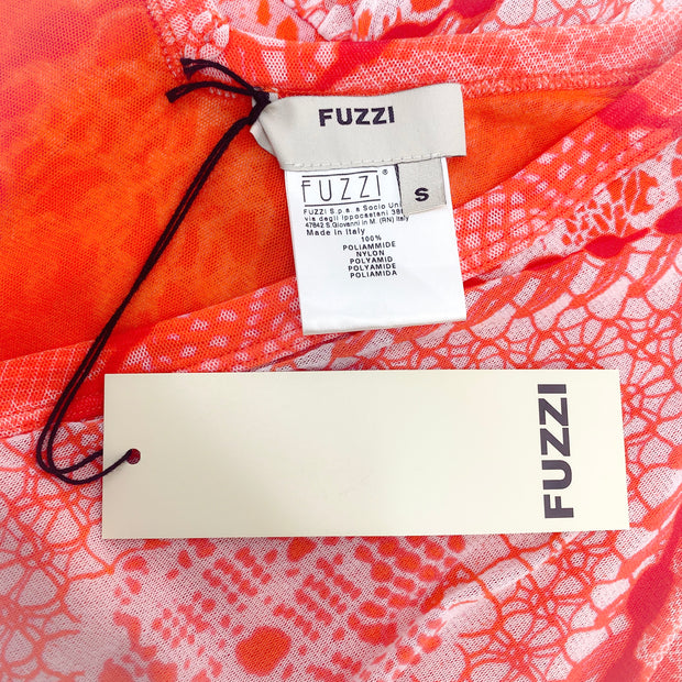 Fuzzi Coral and White Printed Mesh Blouse