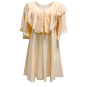 Chloé Peach Ruffled Silk Crepe De Chine Mini Casual Dress