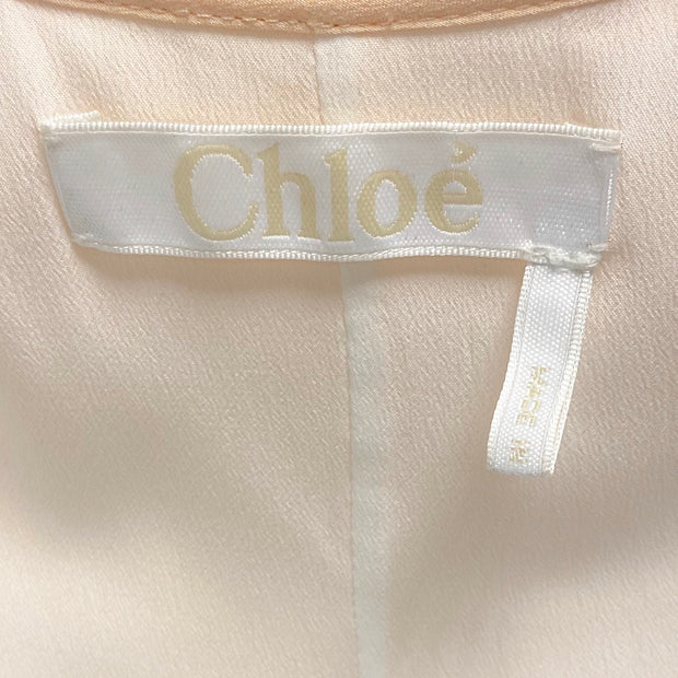 Chloé Peach Ruffled Silk Crepe De Chine Mini Dress