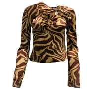 Gianni Animal Print Silk Blend Long Sleeved Blouse