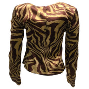 Ganni Animal Print Silk Blend Long Sleeved Blouse