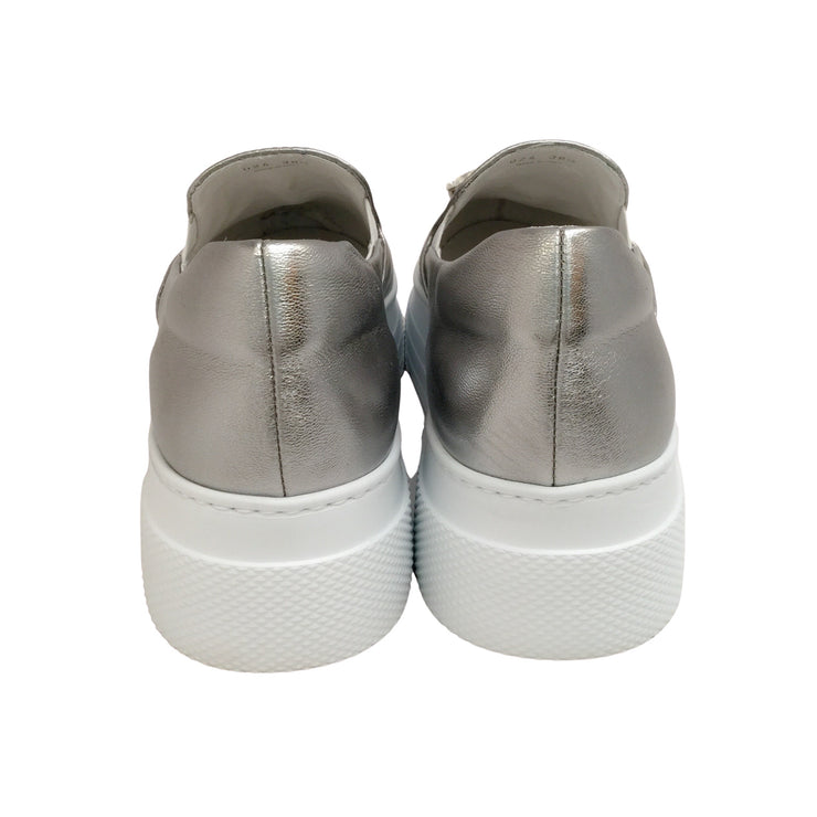 Miu Miu Silver Jeweled Cap Toe Sneakers