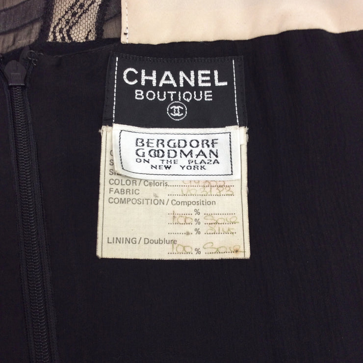 Chanel Black Bow Front Chiffon Short Casual Dress