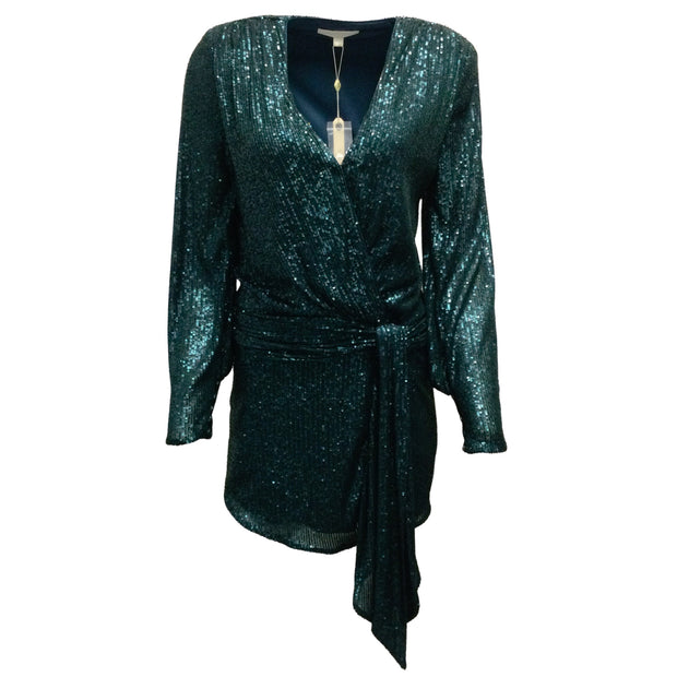 Jonathan Simkhai Teal Blue Sequined Dress