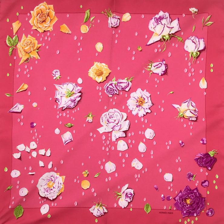 Hermès Pink Flowers and Dew Drop 45 Square Silk Scarf