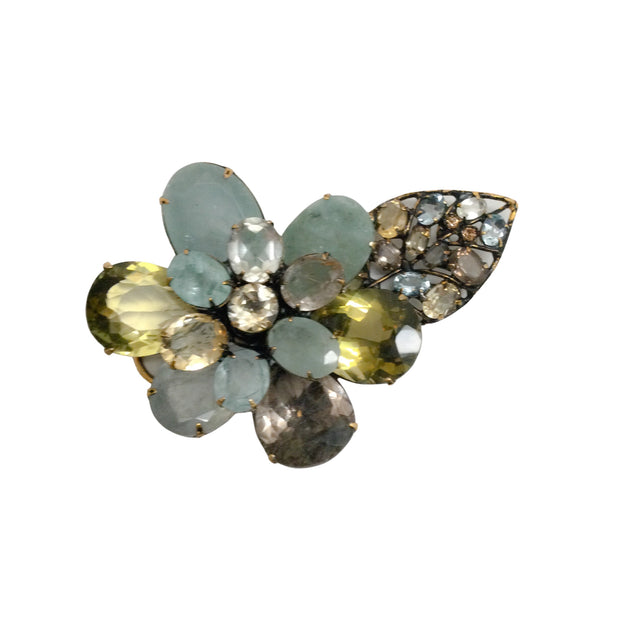 iRADJ Moini Semi Precious Citrine Flower / Brooch Necklace