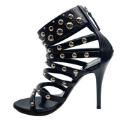 Giuseppe Zanotti Black Studded Leather Signed Stiletto Sandals