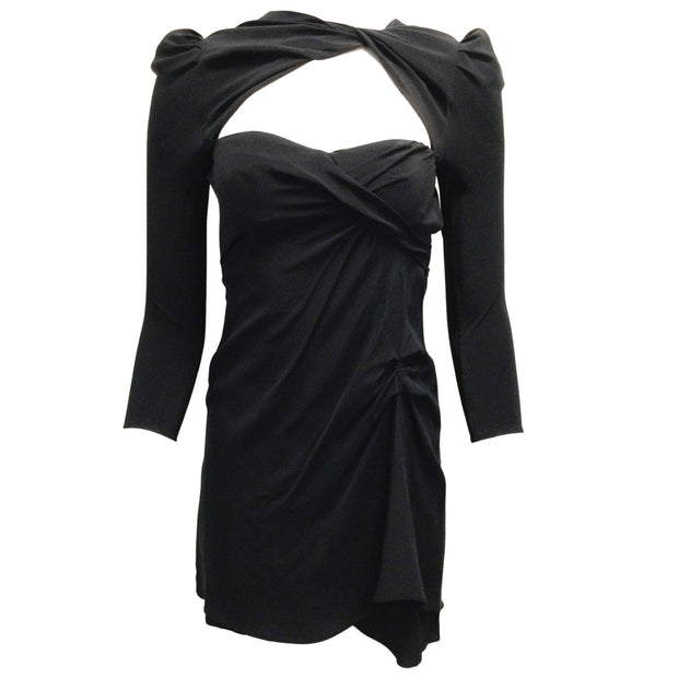 Carven Black Robe Crepe Silk Mini Dress
