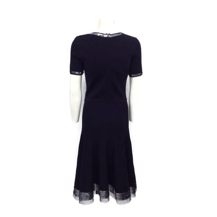 Oscar de la Renta Navy Blue Knit Sequin Trim Cocktail Dress
