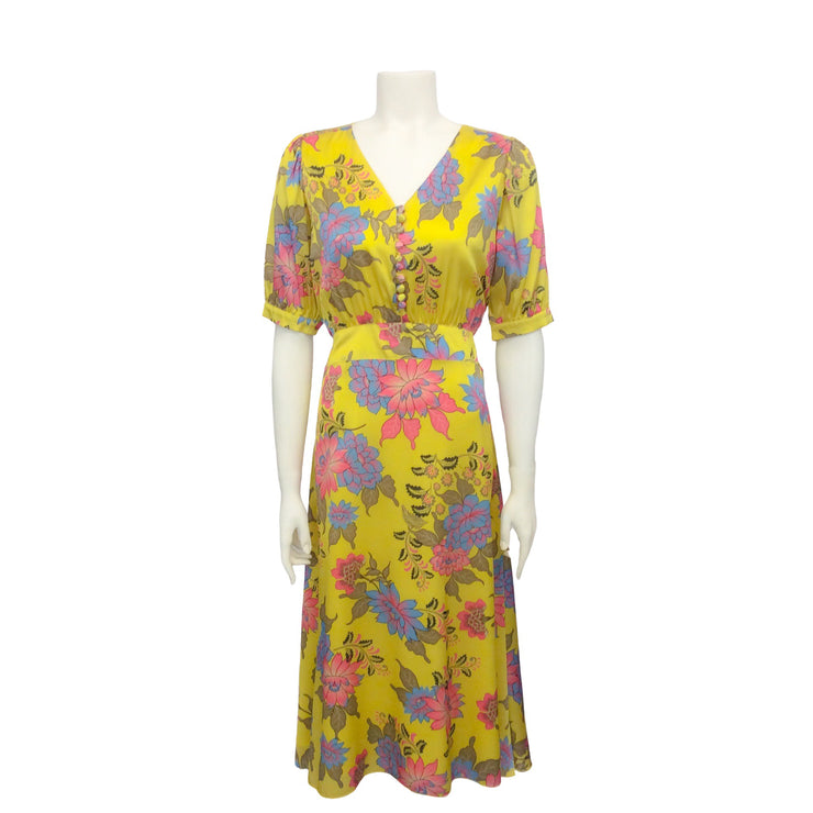 Hérion 1886 Yellow Multi Floral Silk Midi Dress