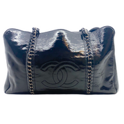 Chanel Duffle Chain Black and Silver Patent Leather Satchel