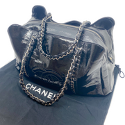 Chanel Black and Silver Patent Leather Chained Satchel