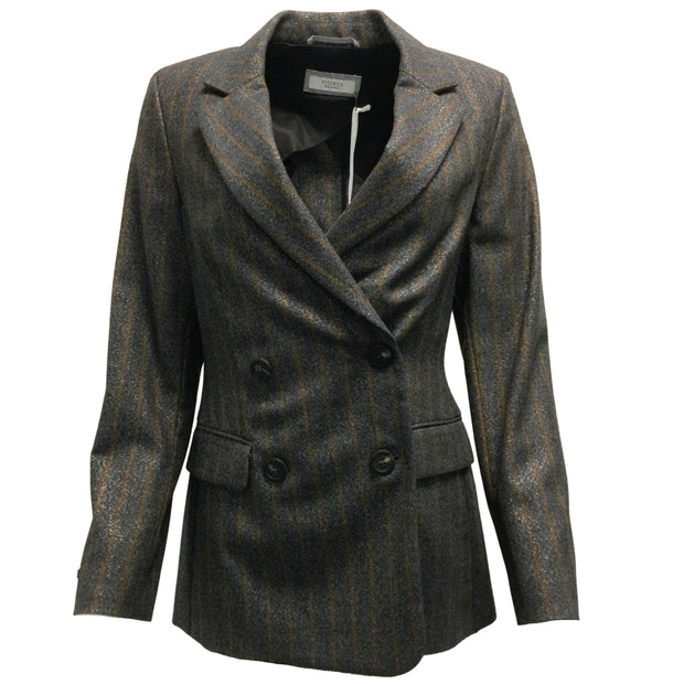 Peserico Charcoal Grey & Brown Striped Metallic Blazer