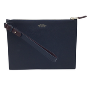 Smythson Navy Pocket Zip Pouch