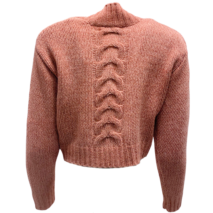 Cushnie et Ochs Wood Rose Openwork Cable Knit Cropped Sweater