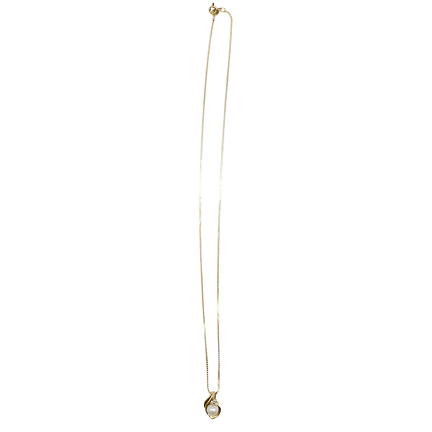 14k Gold Diamond and Pearl Pendant Necklace