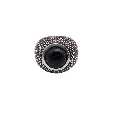 Patricia Von Musulin  Sterling Silver Wood and Black Gem Ring