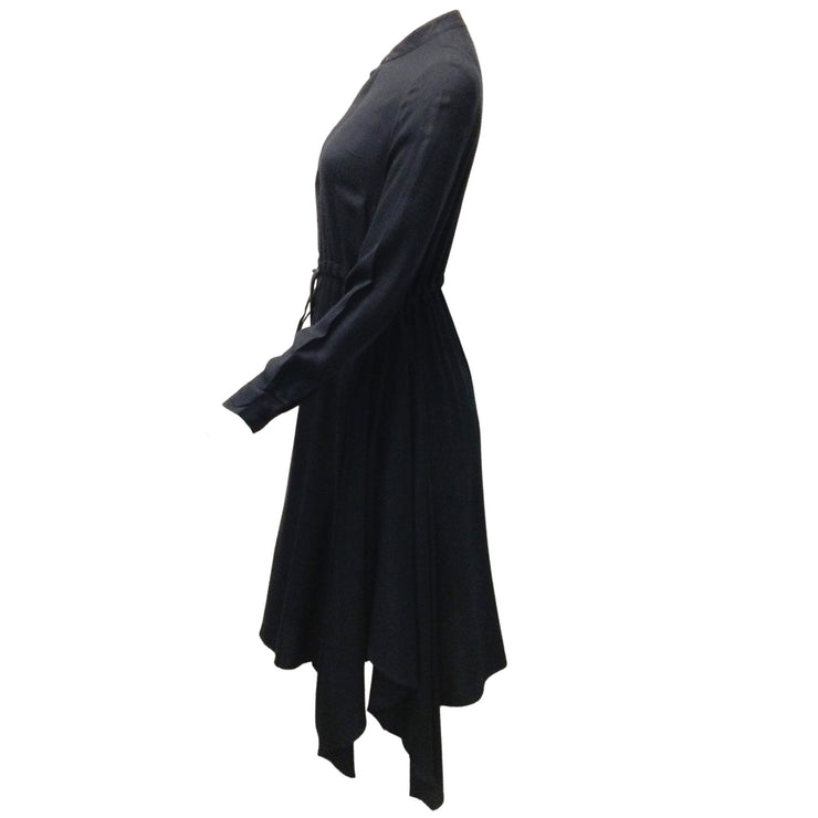 Peserico Navy Blue Viscose & Wool Blend Long Sleeved Dress