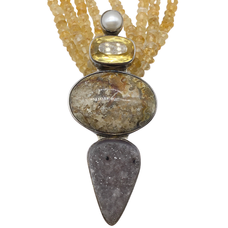Echo of the Dreamer Beaded Sterling Silver Pendent Necklace